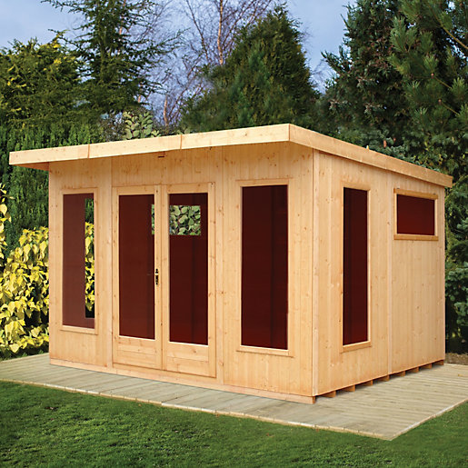 Shire Chequers Modern Double Door Summerhouse 12 X 10 Ft