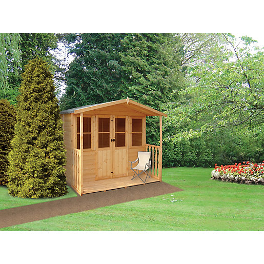 wickes houghton double door summerhouse with veranda 7 x 7 ft wickescouk - Garden Sheds With Veranda