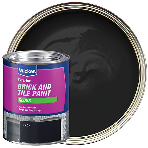 Wickes exterior brick tile paint gloss black 750ml - Sandtex exterior gloss paint paint ...