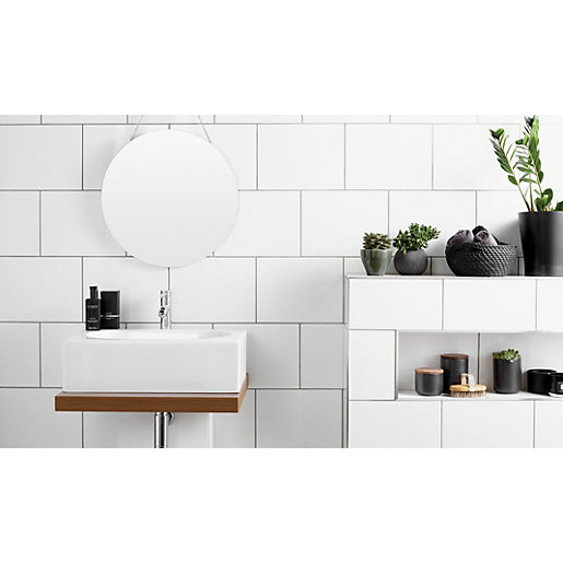 Wickes White Satin Ceramic Wall Tile 250 X 400mm