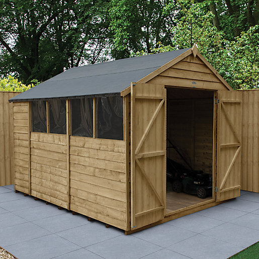 Forest garden apex overlap pressure treated double door shed 8 x 10 ft for Name something you keep in a garden shed