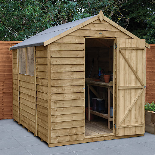 Forest garden apex overlap pressure treated shed 6 x 8 ft for Name something you keep in a garden shed
