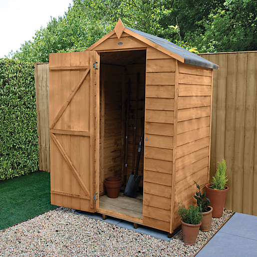 Wickes apex overlap dip treated windowless shed 4 x 3 ft for Garden shed 4 x 3