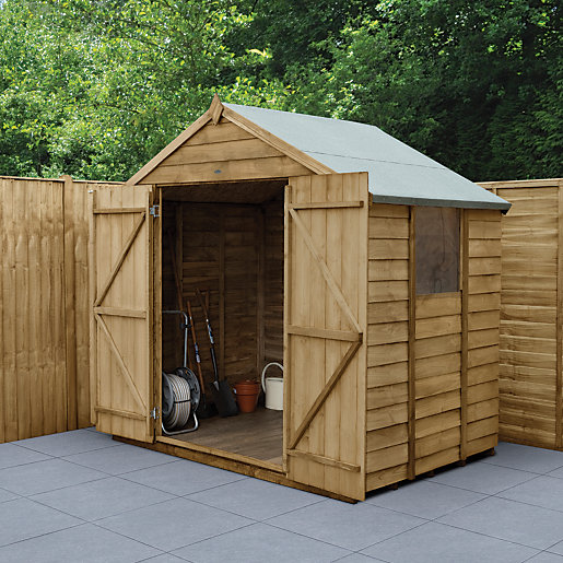 Wickes Apex Overlap Pressure Treated Double Door Shed 7 X 5 Ft