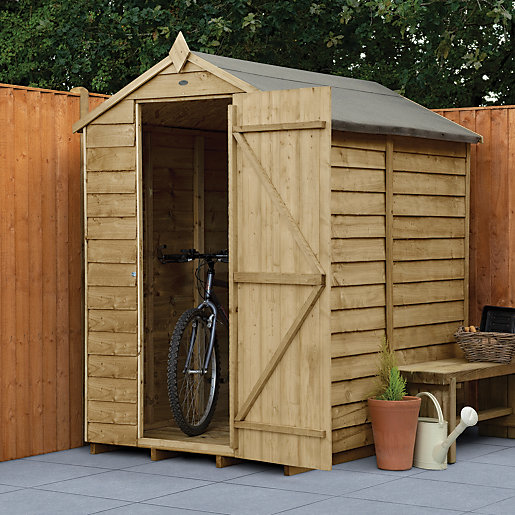 wickes apex overlap pressure treated windowless shed 4 x 6 ft