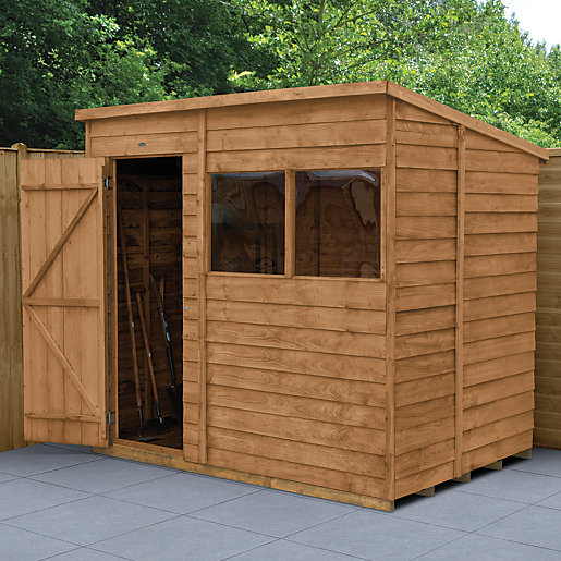 wickes dip treated timber overlap pent shed 7 x 5 ft. Black Bedroom Furniture Sets. Home Design Ideas