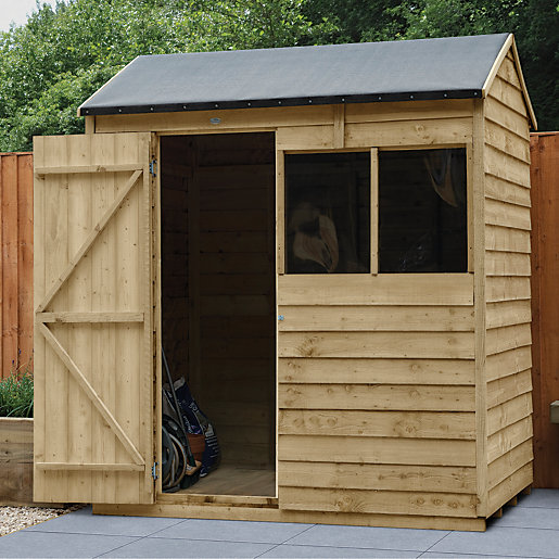 wickes reverse apex overlap pressure treated shed 6 x 4 ft