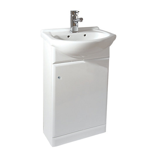 White Gloss Vanity Unit  Basin Mm Wickescouk - Sink with vanity unit