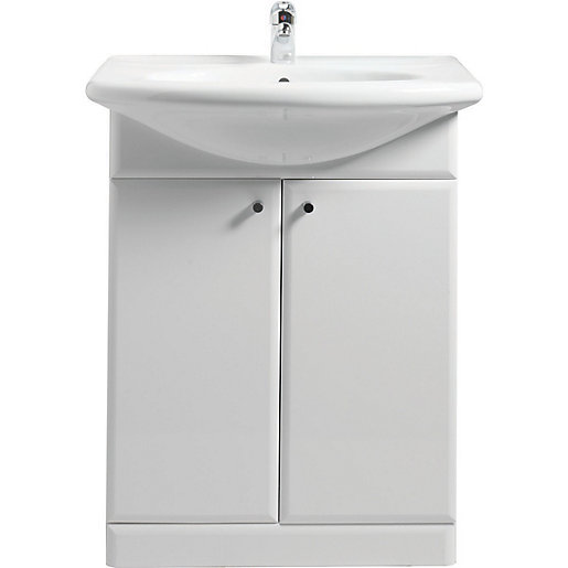Wickes White Gloss Vanity Unit & Basin 550mm | Wickes.co.uk