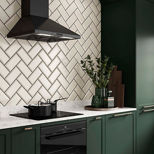 Kitchen Wall Tiles Types: Wickes Metro Cream Ceramic Tile 200 X 100mm