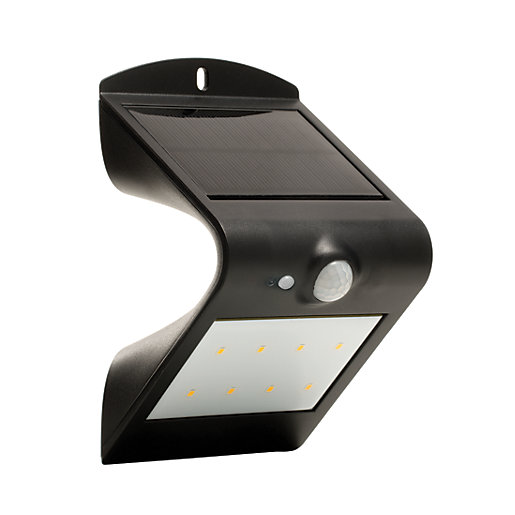 Outdoor Security Lights Wickes: Luceco Solar Guardian LED Black PIR Wall Light