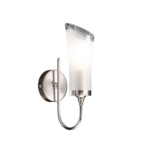 Brushed Chrome Bedroom Wall Lights : Wickes Lian Brushed Chrome Wall Light - E14 Wickes.co.uk