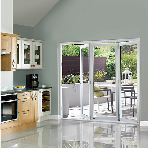 Wickes burman finished folding patio door white 7ft wide for Folding patio doors