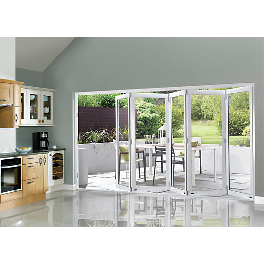 Wickes burman slimline finished bi fold door white 12ft for Double wide patio doors