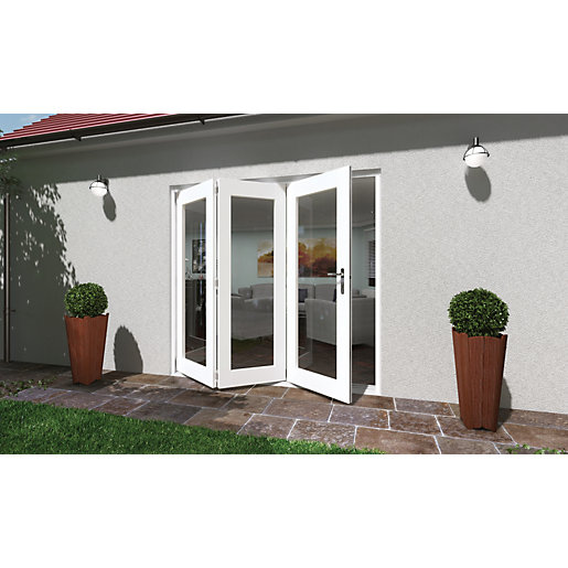 Wickes lyndon finished folding patio door white 6ft wide for 6 ft wide patio doors
