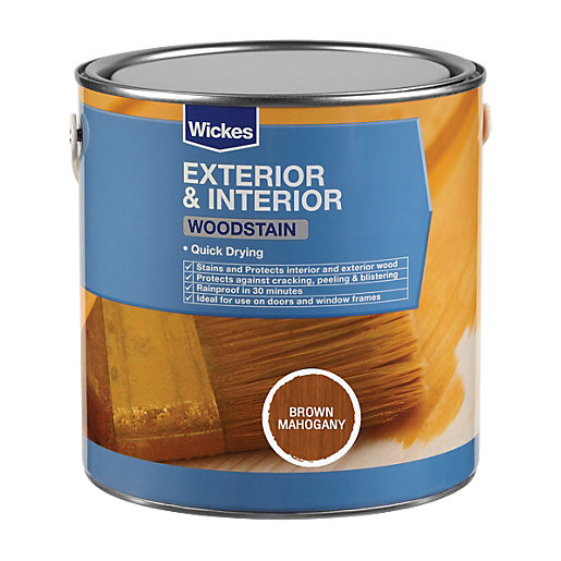 Wickes Quick Drying Woodstain Brown Mahogany 750ml