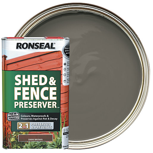 Ronseal Shed Amp Fence Preserver Dark Brown 5l Wickes Co Uk