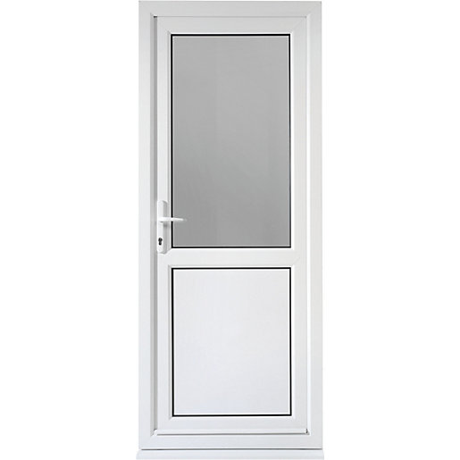 Wickes tamar pre hung upvc door 2085 x 840mm right hung for Door viewer wickes