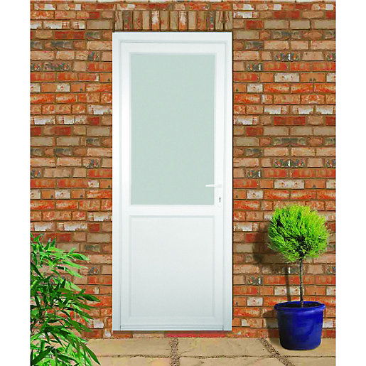 Wickes tamar pre hung upvc door 2085 x 920mm left hand for Back door with window that opens