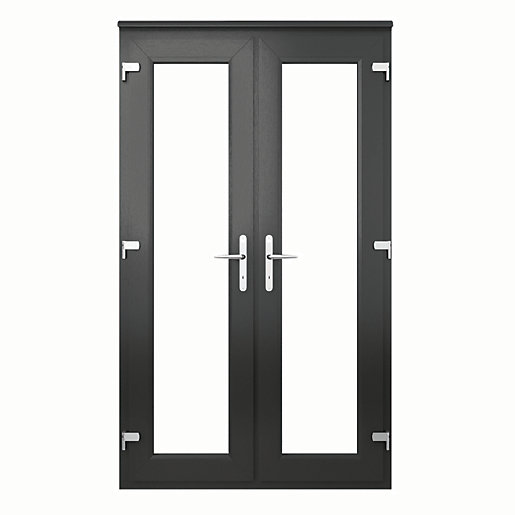 Euramax upvc french door grey 4ft for Upvc french doors grey