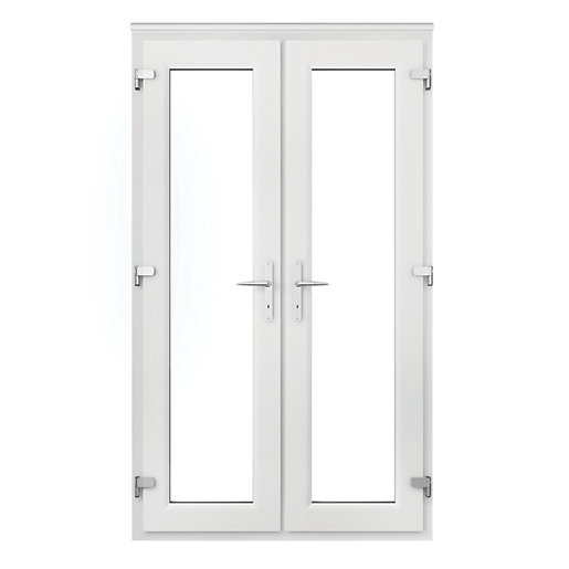 Wickes upvc french door 4ft with chrome handles for Upvc french doors