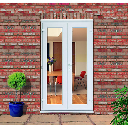 Wickes upvc french slave door 4ft 1 of 3 for Plastic french doors