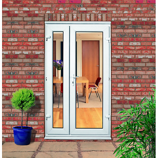 Wickes upvc offset french doors 4ft with 1 demi panel - Upvc double front exterior doors ...