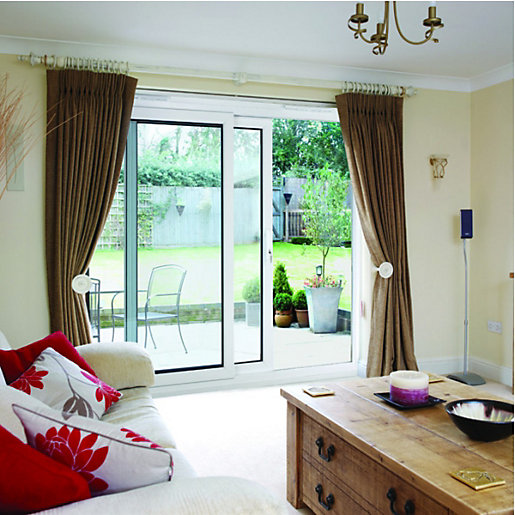 Wickes washington upvc patio door set white 5ft wide for Wide sliding patio doors