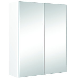 Wickes Bathroom Semi Frameless Double Mirror Cabinet White 500mm