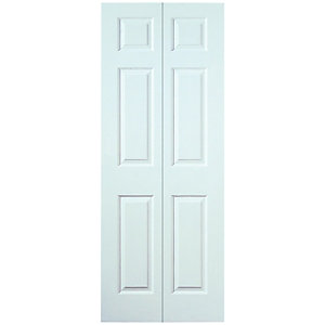 Wickes Woburn Internal Bi-Fold Door White Grained Moulded 6 Panel 1981x762mm