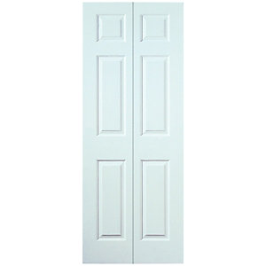 Wickes Woburn Internal Bi-Fold Door White Smooth Moulded 6 Panel 1981x762mm