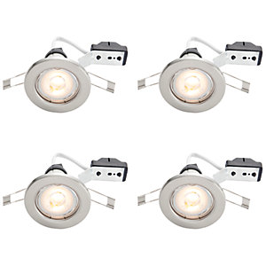 Wickes Lighting Ceiling: Wickes LED Downlights Brushed Chrome Finish 4 Pack,Lighting