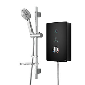 Wickes Hydro LED Lit Touch Control Electric Shower Kit - Black/Chrome 8.5kW