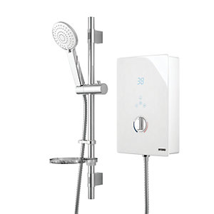 Wickes Hydro LED Lit Touch Control Electric Shower Kit - White/Chrome 8.5kW