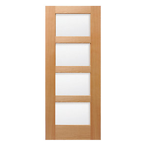 Wickes marlow internal pre finished oak veneer door glazed for Door viewer wickes