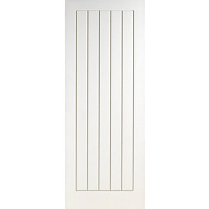 Wickes Geneva Internal Cottage White Primed Grained 5 Panel Moulded Door - 1981 x 686mm