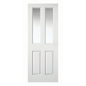 Wickes Stirling Internal Moulded Door White Clear Glazed Primed 4 Panel  1981 X 686mm