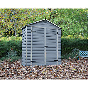 Palram Back to Wall Grey Double Door Plastic Apex Shed with Skylight Roof - 6 x 3 ft
