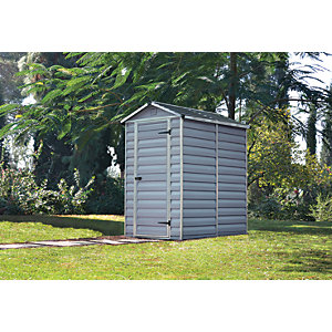 Palram Small Grey Plastic Apex Shed with Skylight Roof - 4 x 6 ft