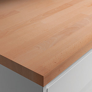 Wickes Worktop Solid Wood Beech 3000 x 600 x 28 mm