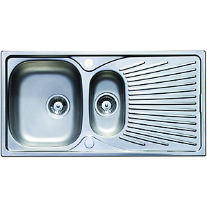 Wickes Luxe 1.5 Bowl Kitchen Sink Stainless Steel