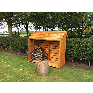 Shire Large Timber Log Store Honey Brown - 5 x 2 ft