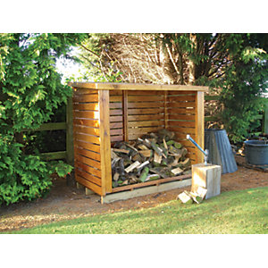 Shire Large Timber Log Store Honey Brown - 6 x 3 ft