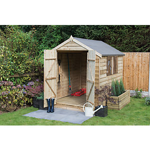 wickes double door pressure treated timber overlap apex shed 6 x 8 ft