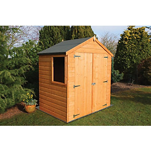 wickes double door timber shiplap apex shed 6 x 4 ft