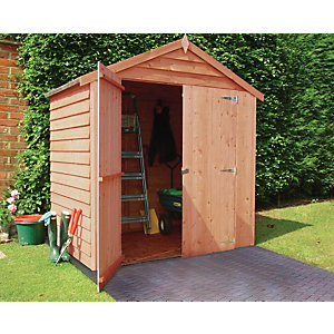 Wickes Double Door Windowless Overlap Apex Shed - 6 x 4 ft