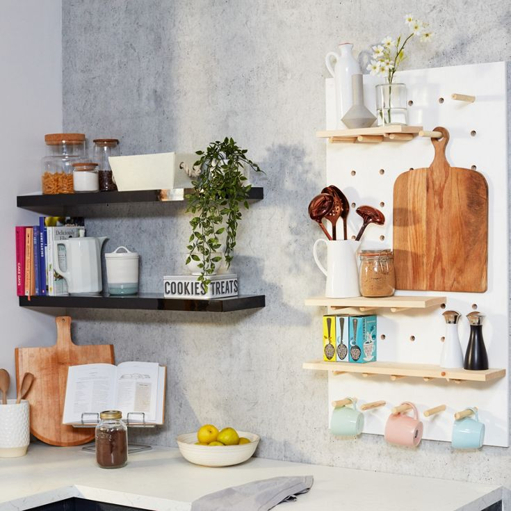DIY wooden pegboard shelving