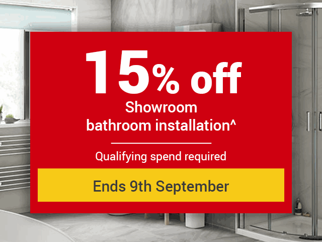 15% off all showroom bathroom products