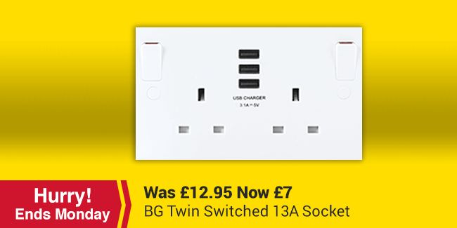 BG Twin Switched 13A Socket with 3 x USB Ports - White