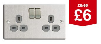 13A Silver Twin Switched Socket